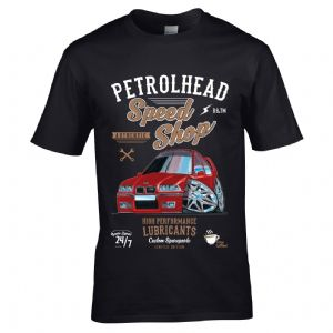 Premium Koolart Petrolhead Speed Shop Motif With Red E36 M3 Car Image Mens T-shirt Top